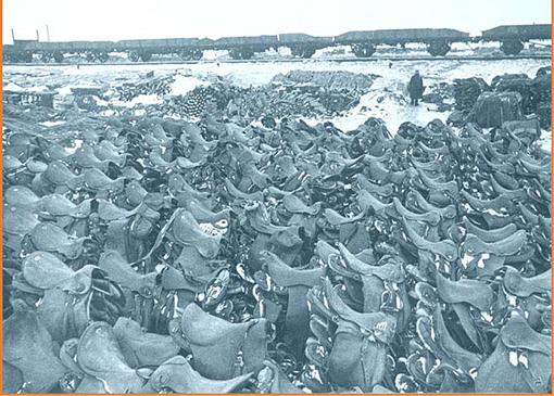 Седла павших после битвы лошадей