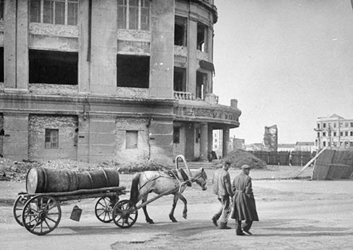 Лошадь у здания универмага.Сталинград(1947г)
